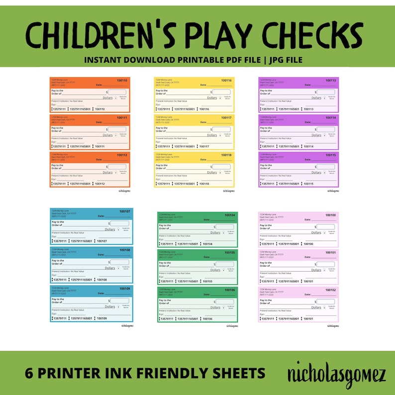 Printable Children's Play Checks Pretend Play Check Toy image 0