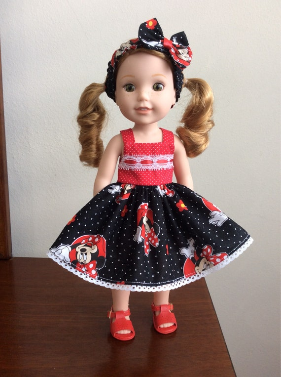 "14.5/"" Doll Clothes-fit American Girl-Wellie Wishers-Dress//Bag//Bow-Paris Spring"