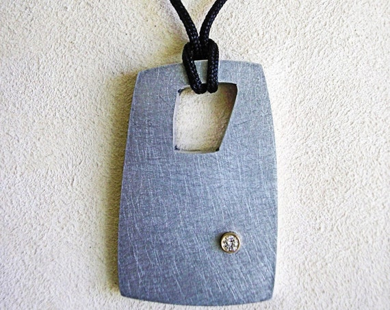 Abstract Lumina Reclaimed Aluminum Pendant w/Diamond