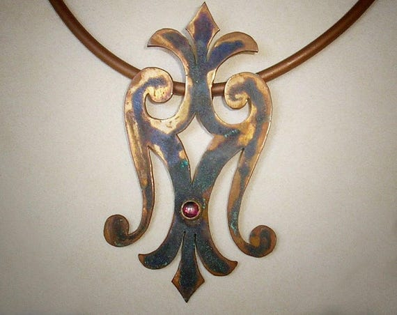 Weathered Copper Scroll Pendant