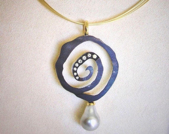 18K and 14K Shibuichi Spiral Necklace w/Diamonds and Pearl