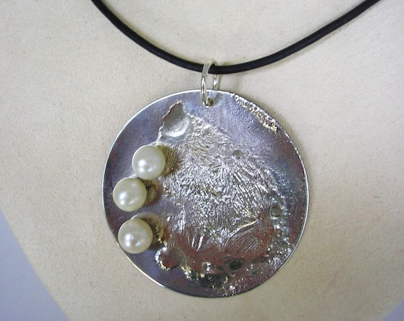 Sterling Silver & Pearl Disk Necklace