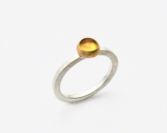 14K & Sterling Silver Citrine Cabochon Ring