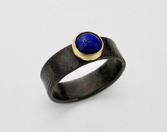 Blackened Sterling & 14K Ring w/Cabochon Lapis