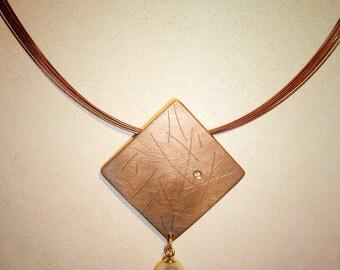 Shibuichi Pearl & Diamond Pendant
