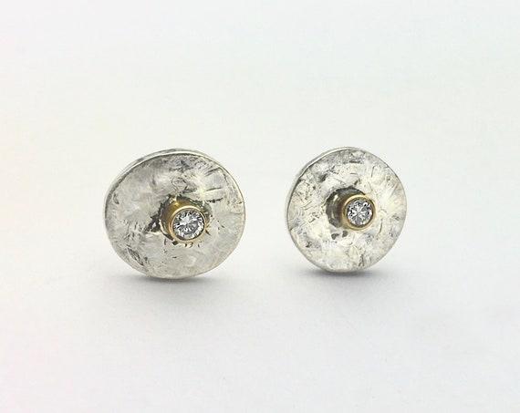 Textured Sterling & 14K Stud Earrings with Diamond