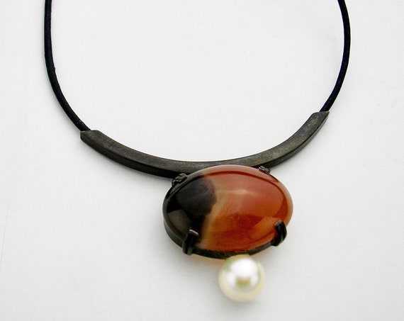 Blackened Sterling Necklace w/Agate Cabochon & Pearl