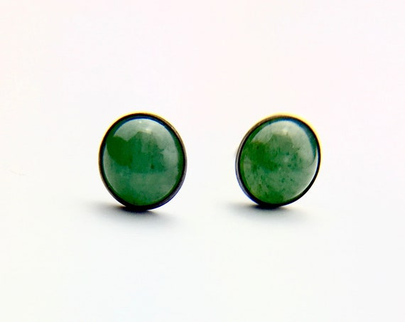 Blackened Sterling Silver Cabochon Aventurine Stud Earrings