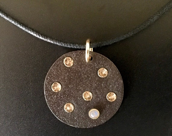 14K & Oxidized Sterling Silver Pendant