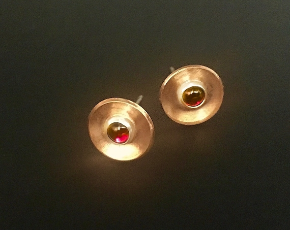Reclaimed Copper w/Sterling Silver & Garnet Stud Earrings