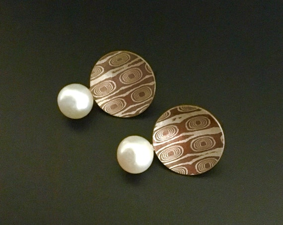 Mokume Gane Sterling & Copper Earrings with Pearls
