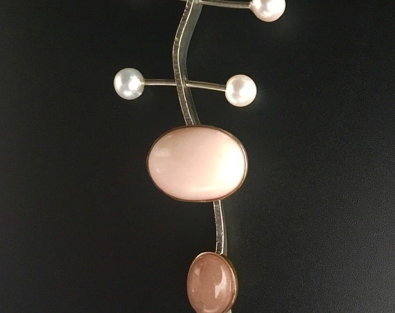 14K & Sterling Pendant w/Coral, Sunstone and Pearls