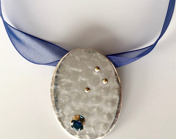 Sterling & 14K yg Pendant with Sapphire