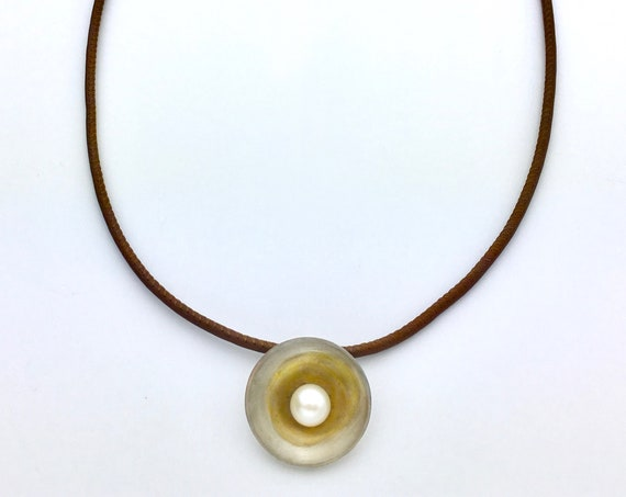 Sterling & Freshwater Pearl Pendant on Rubber Neck Cord
