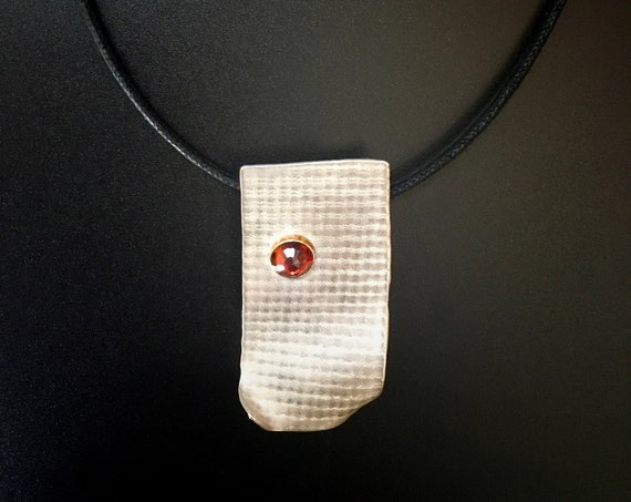 Sterling Silver & 14K Pendant with Garnet