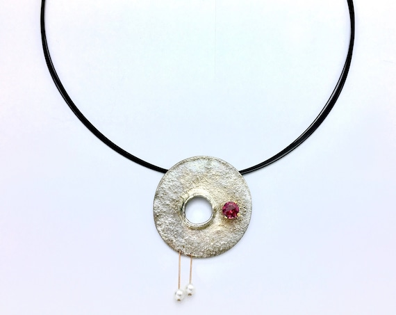 Sterling Silver & 14K Crater Necklace wih Garnet and Pearls