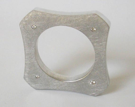 Quadra Reclaimed Aluminum & Diamond Ring