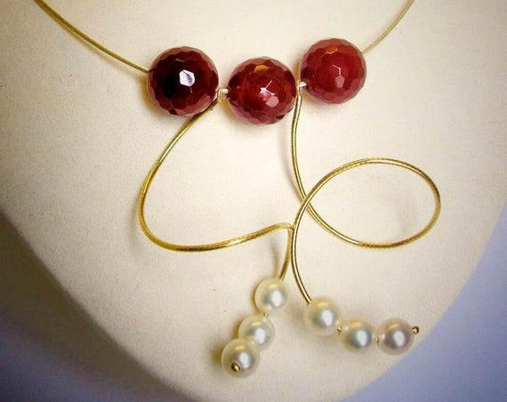 14K YG Pearl & Carnelian Spiral Necklace