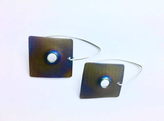 Titanium & Sterling Drop Earrings