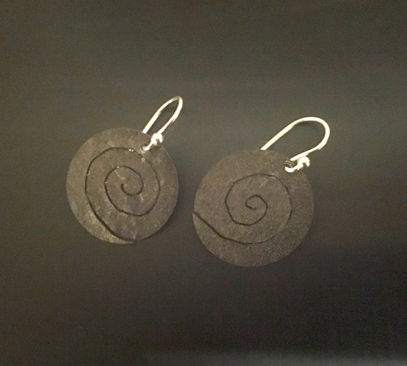 Oxidized Sterling Spiral Drop Earrings