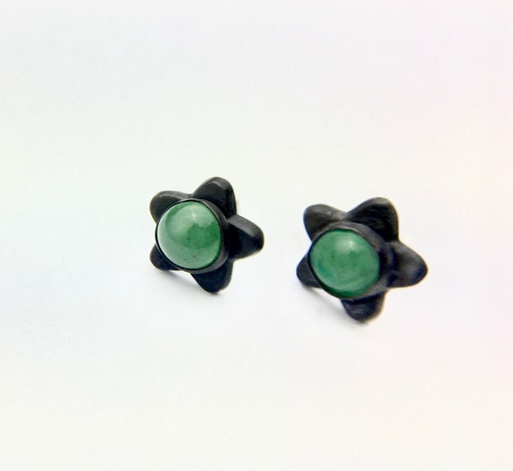 Blackened Sterling Silver & Cabochon Star Earrings