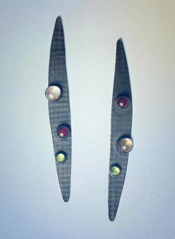 Asymmetric Oxidized Sterling Drop Earrings w/Stones