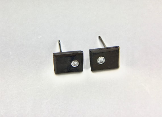 Modern Blackened Sterling & Diamond Stud Earrings