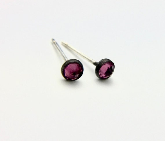 Blackened Sterling Bezel-set Studs with Colored Sapphire