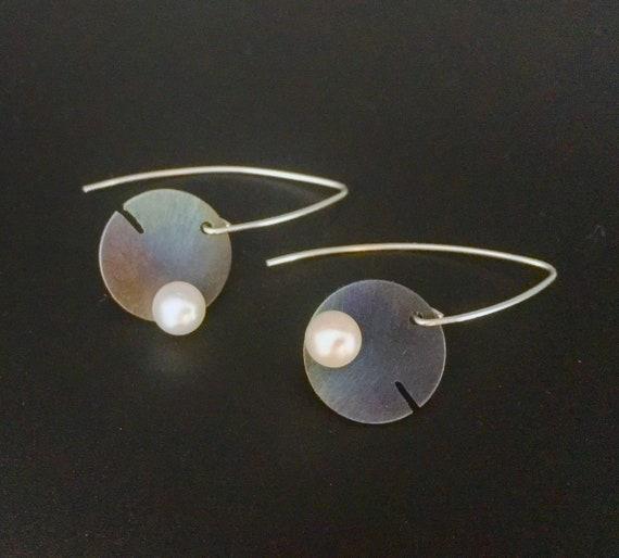 Titanium & Sterling Silver Drop Earrings w/Pearl
