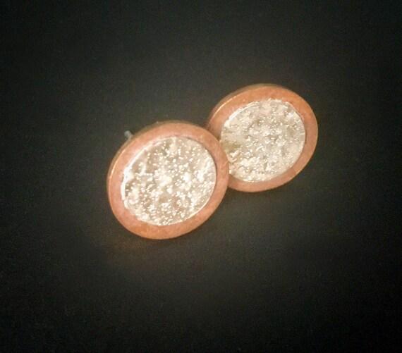Bronze & Sterling Silver Stud Earrings