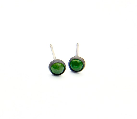 Blackened Sterling Silver Aventurine Cabochon Stud Earrings