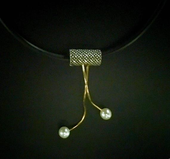 Kinetic Sterling & 14K Slide Pendant w/Pearls