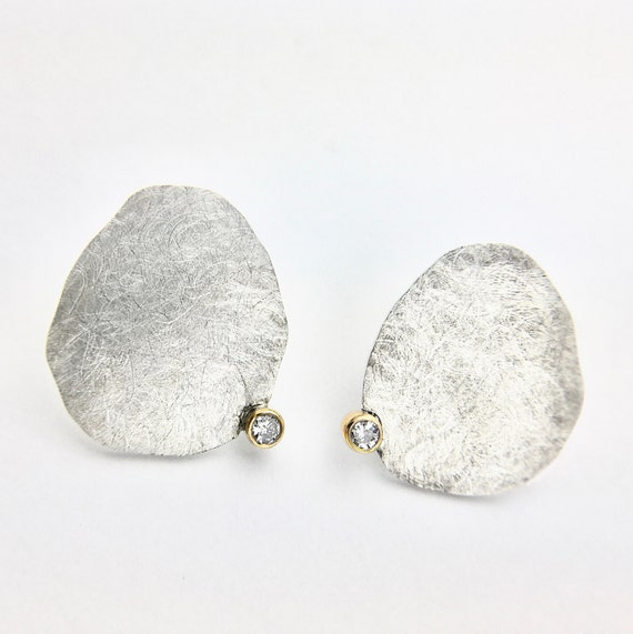 Contemporary Sterling Silver & 14K Diamond Earrings