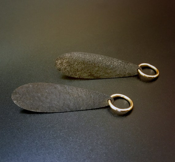 Oxidized Sterling Earring w/14K Goldfill Loop