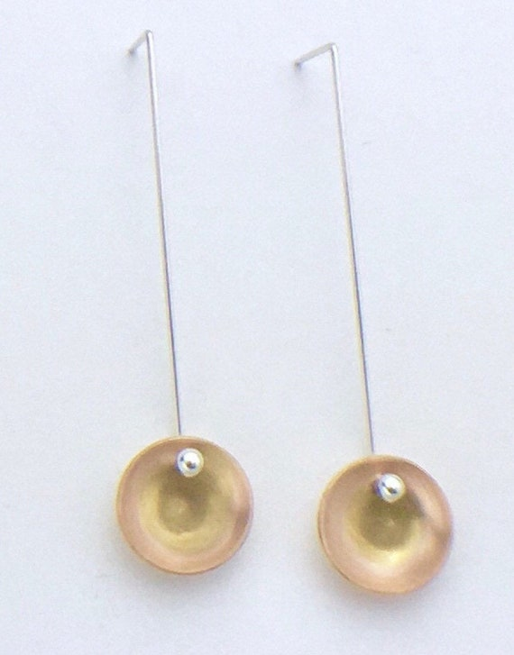 Modern Drop Earrings with 14K gold fill & Sterling Silver