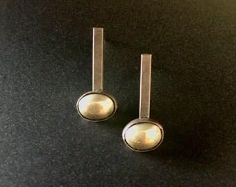 Oxidized Sterling Earrings w/Pyrite Cabochon