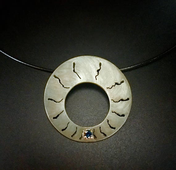 Shibuichi Necklace with Sapphire