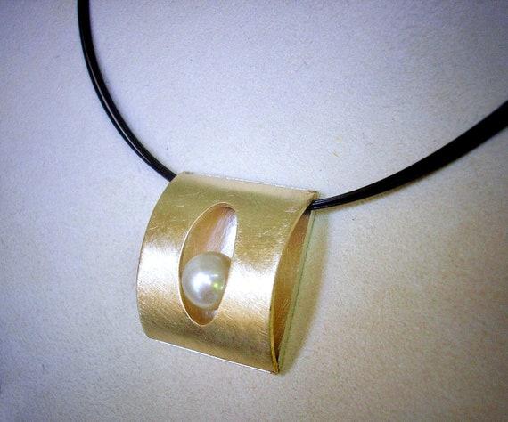 14K YG Bi-Metal & Sterling Pearl Slide Necklace