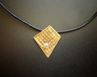 Abstract 14K YG & Diamond Pendant
