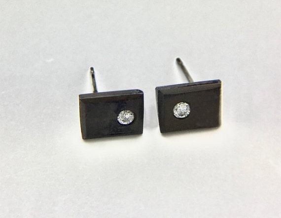 Modern Blackened Sterling & Diamond Stud Earrings