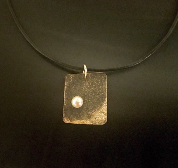 Oxidized Copper & 14K Pearl Pendant