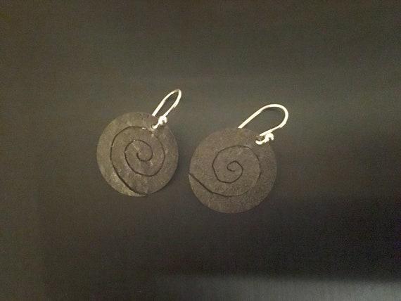 Oxidized Sterling Spiral Drop Earrings
