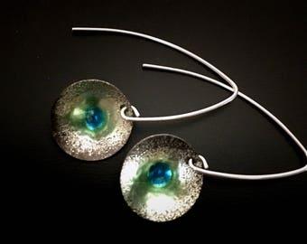 Fine Silver EnamelArt earrings
