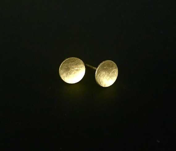 14K Concave Disc Stud Earring