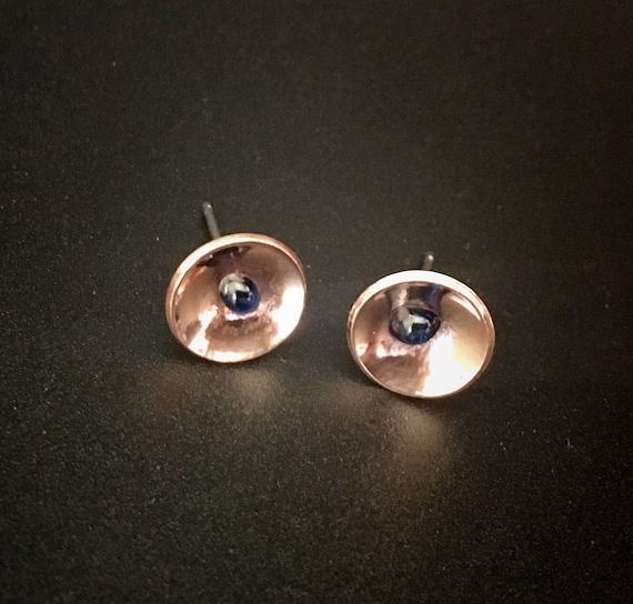 Copper & Enamel Stud Earrings