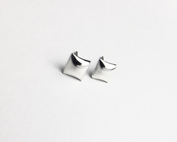 "Sterling Silver ""Pillow"" Stud Earrings"