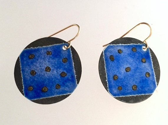 Sterling Silver EnamelArt earrings