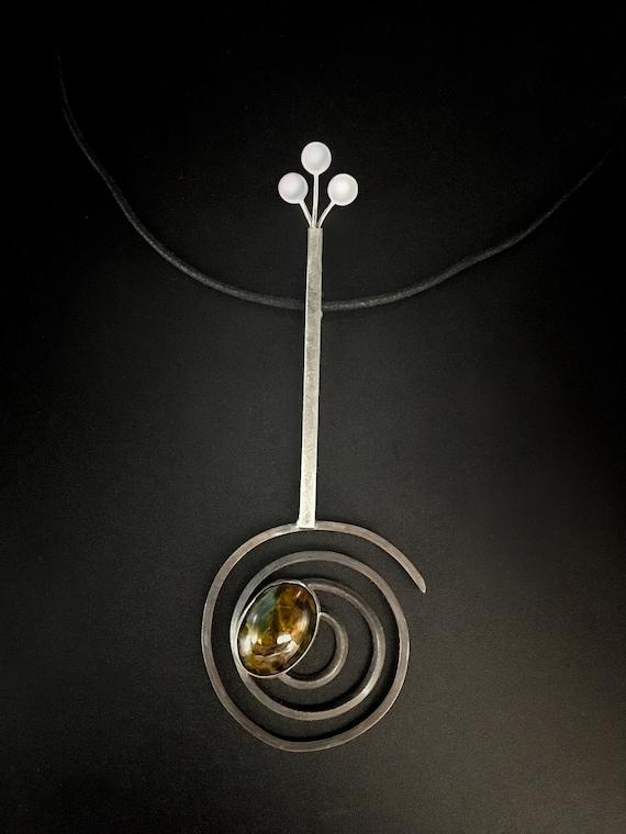 Sterling Silver Spiral Pendant w/Pietersite
