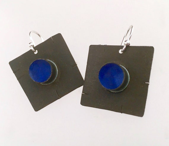 Sterling Silver Blue Button earrings