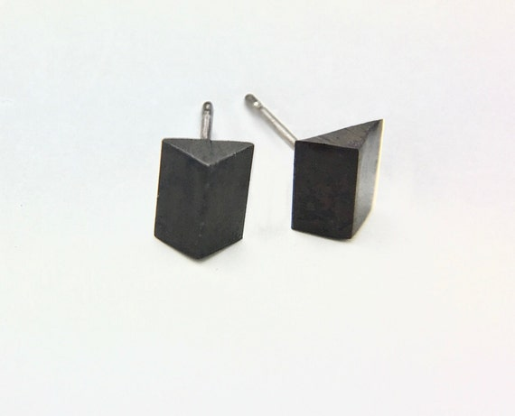 Geometric Blackened Sterling Stud Earrings
